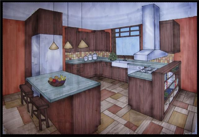 Two Point Perspective Kitchen Perspective Drawing Architecture