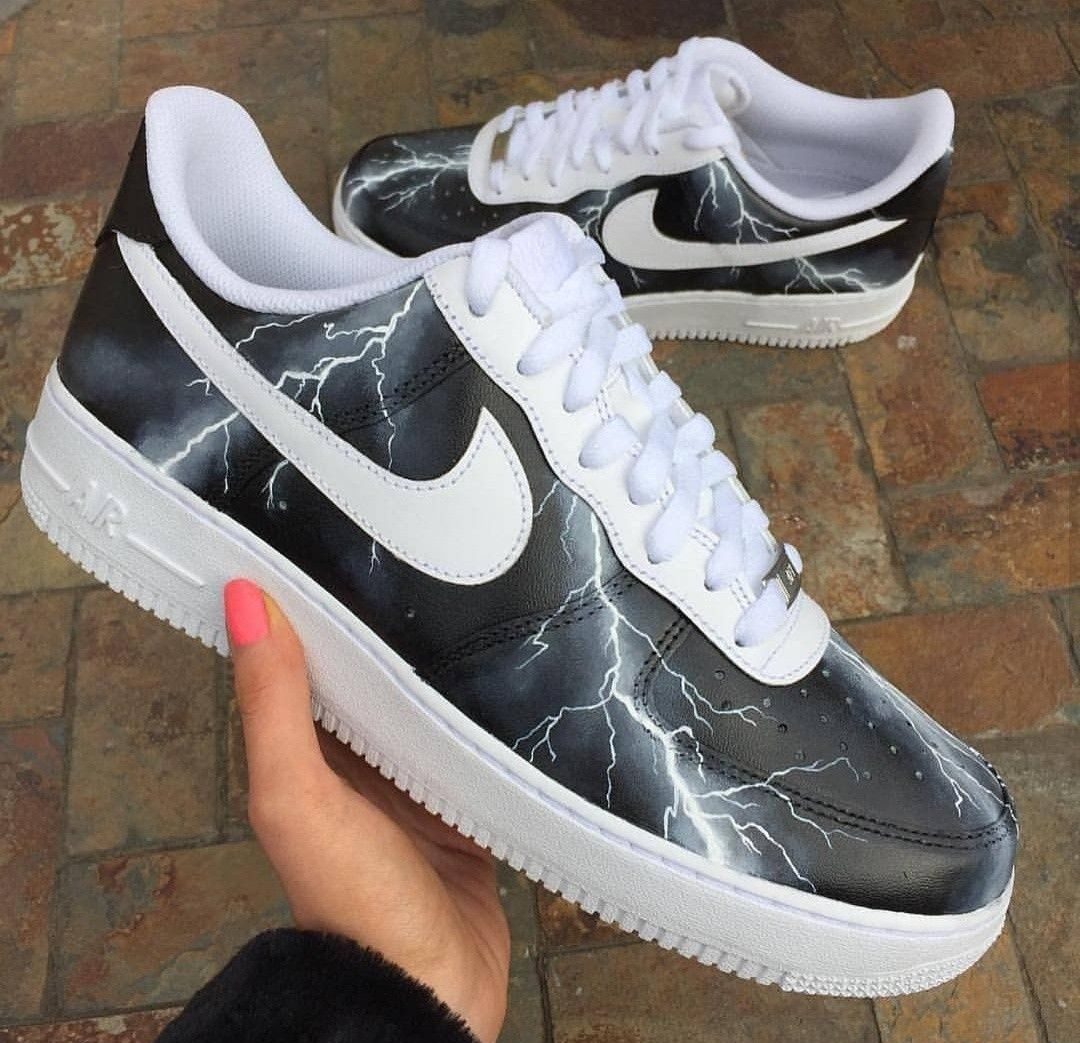 634f3c49b2c8 Wgat would you call these custom painted lightning Nike Air Force One s   Artwork done by