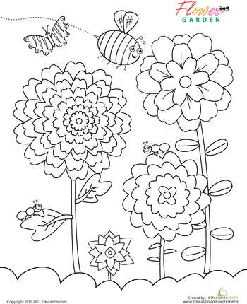 Flower Garden Coloring Page | Pinterest | Worksheets, Flower and Gardens