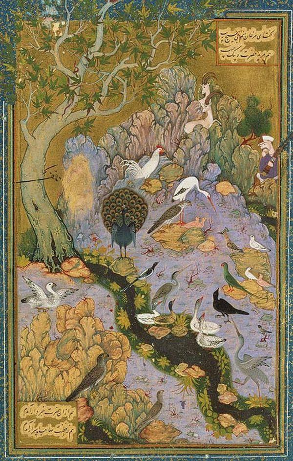 "Mantıku't-Tayr ""Kuşların Diliyle"" ressam Habib Allah.  ""The Concourse of the Birds"", Folio from a Mantiq al-tair (Language of the Birds) Habiballah of Sava (active ca. 1590–1610) Poet: Farid al-Din `Attar (ca. 1142–1220) Iran, Isfahan"