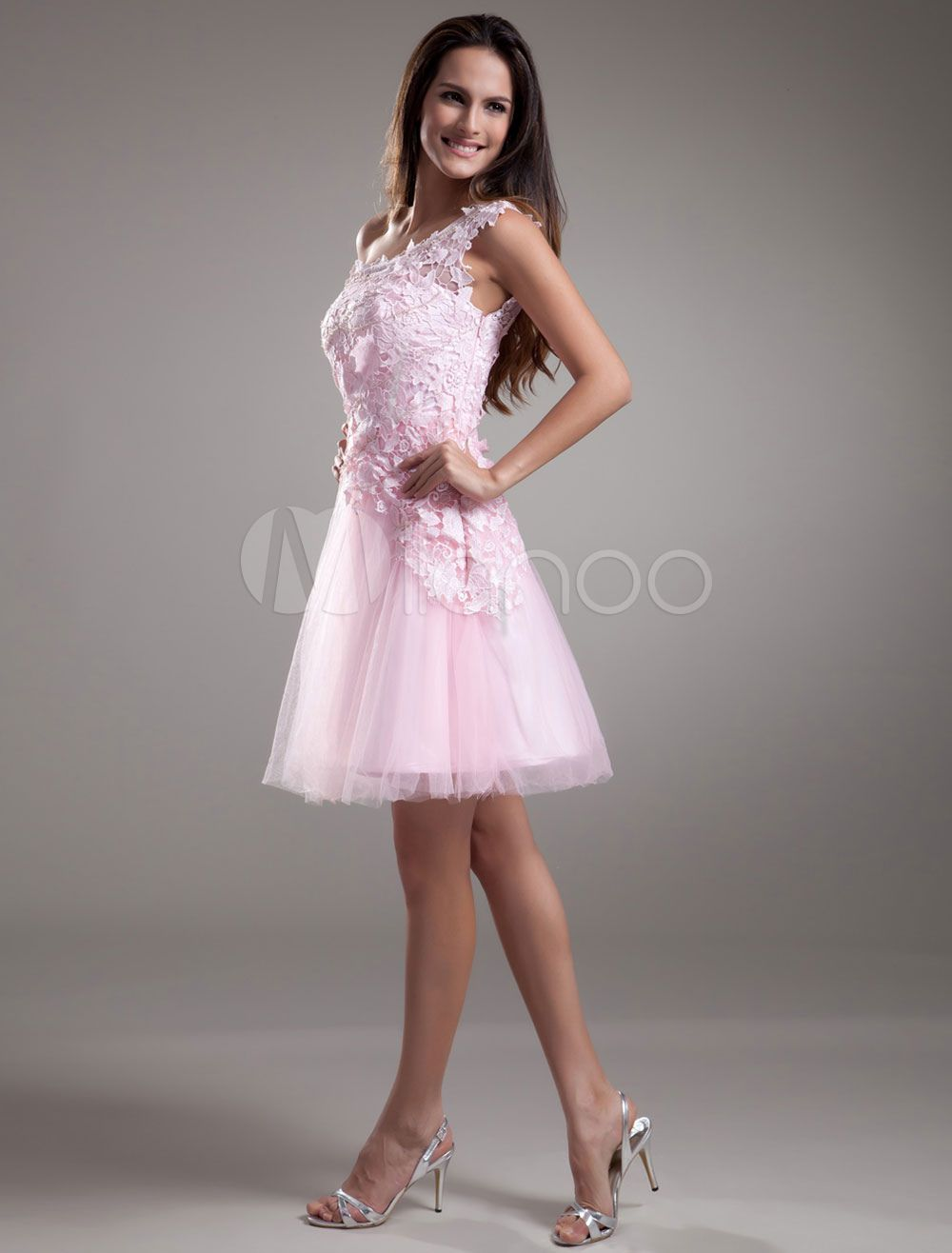 Lace cocktail dress one shoulder short prom dress pink tulle party