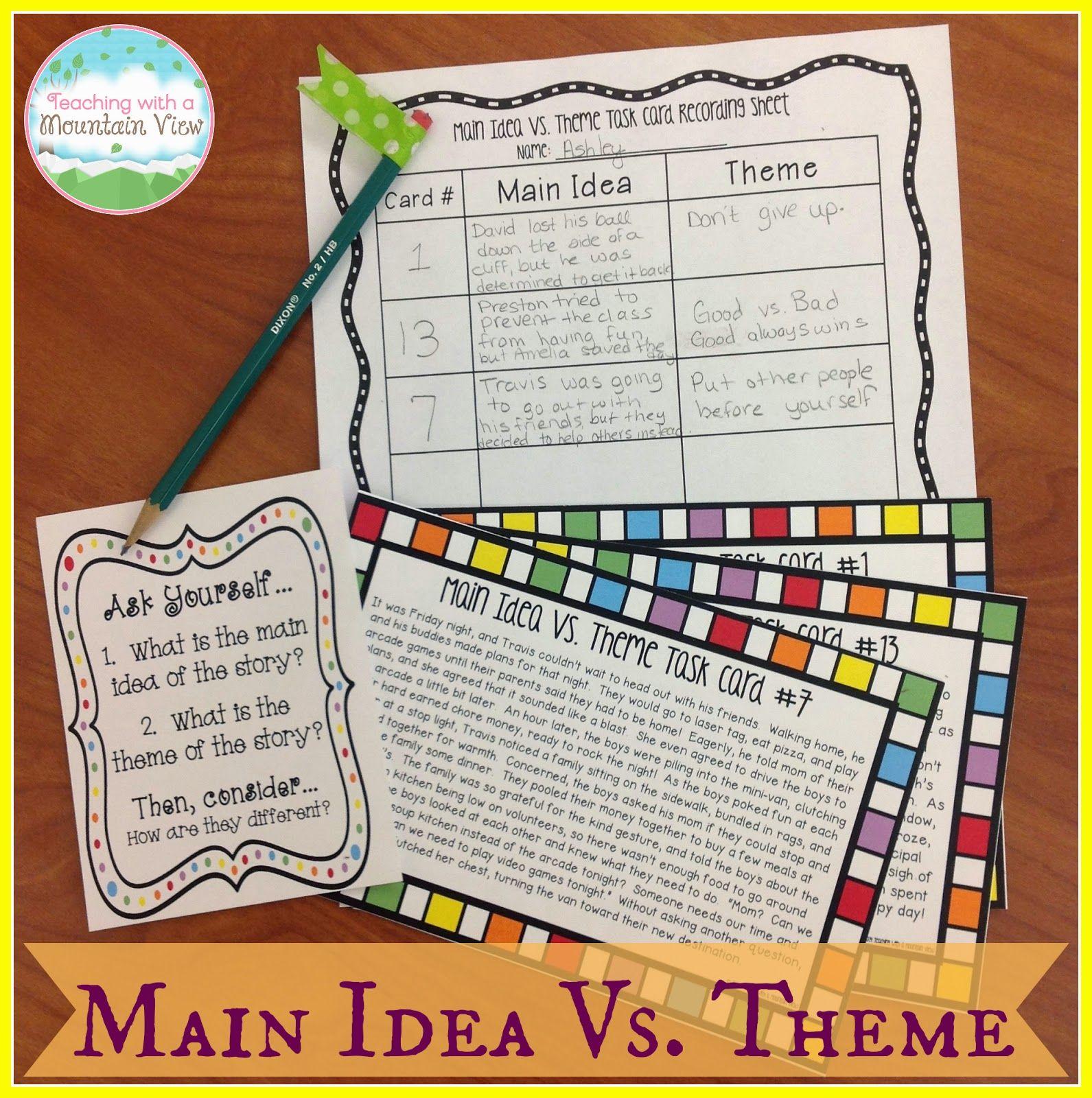 Teaching Main Idea Vs Theme Teaching With A Mountain View Teaching Main Idea Theme Task Cards Reading Classroom