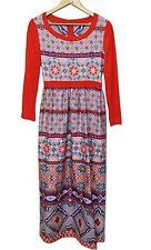 VTG 70s Romantica by Victor Costa Bohemian Folk Art Dress Size 10 Red Quilt Maxi