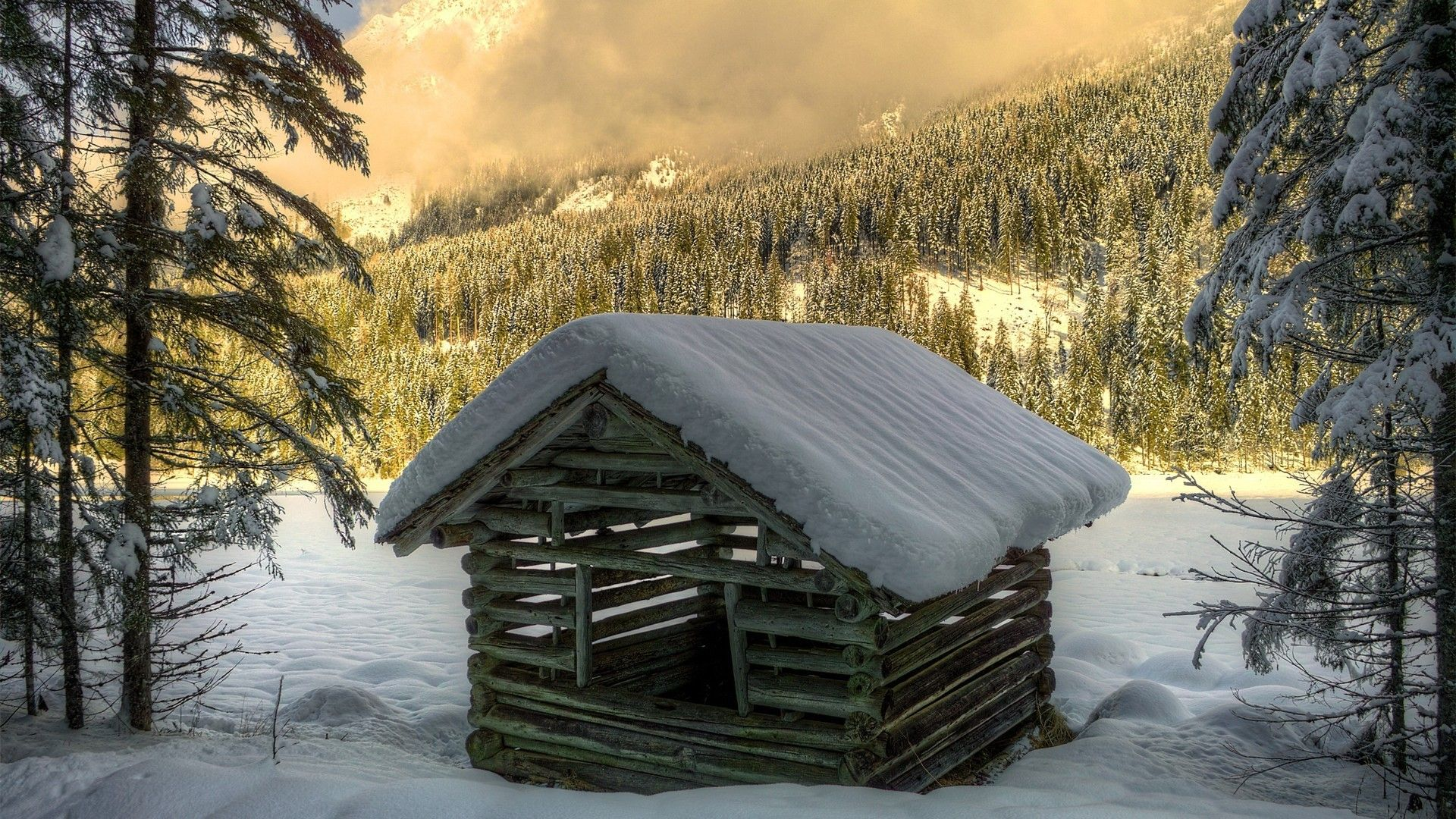 Log Cabin In The Mountains At Winter Wallpaper Winter Wallpaper Winter House Tree Log Wallpaper