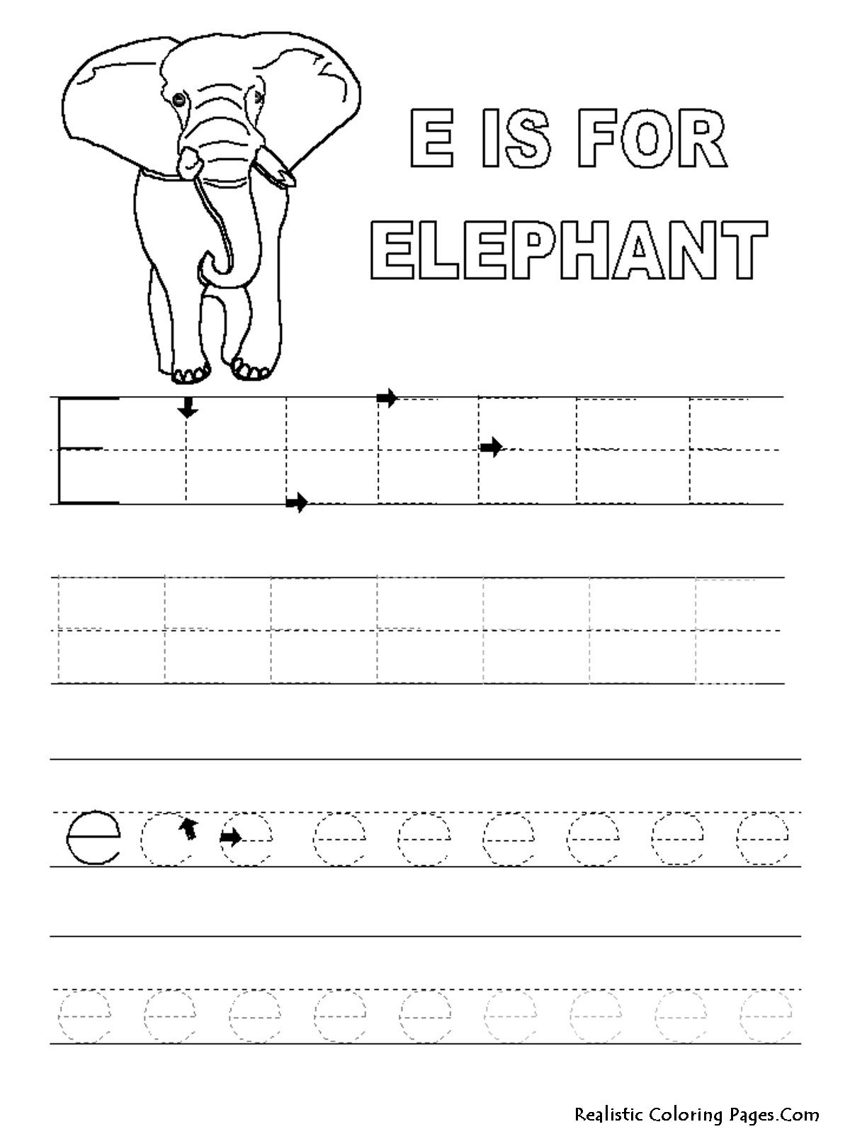 alphabet tracer pages e elephant coloring pages pinterest
