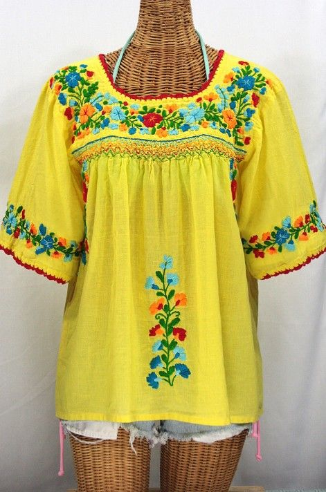 """Siren's """"La Marina"""" Embroidered Mexican Peasant Blouse in Yellow + Fiesta Embroidery #boho #fashion"""