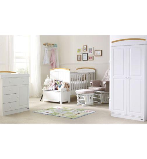 Tutti Bambini 7piece Barcelona Nursery Furniture Suite Beech White Finish