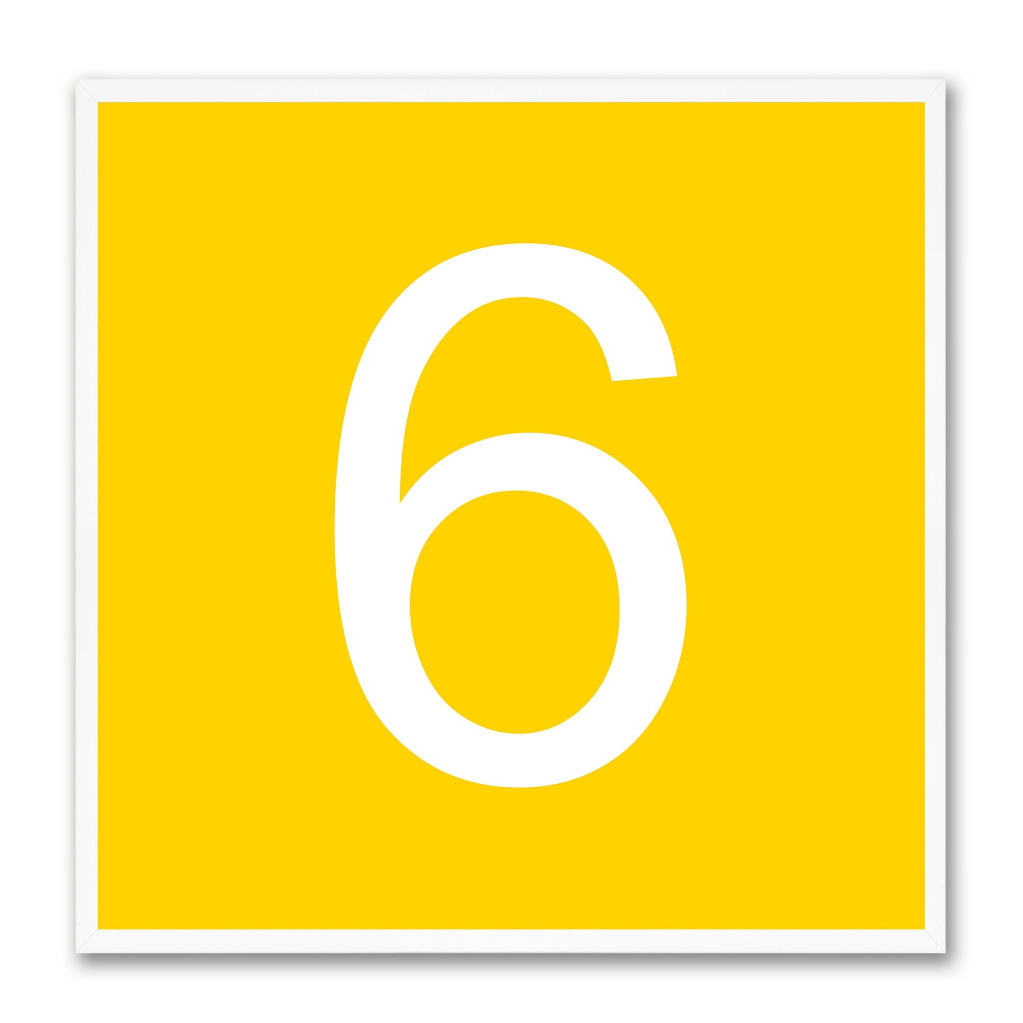 Number 6 Yellow Canvas Print White Frame Kids Bedroom Wall Décor ...