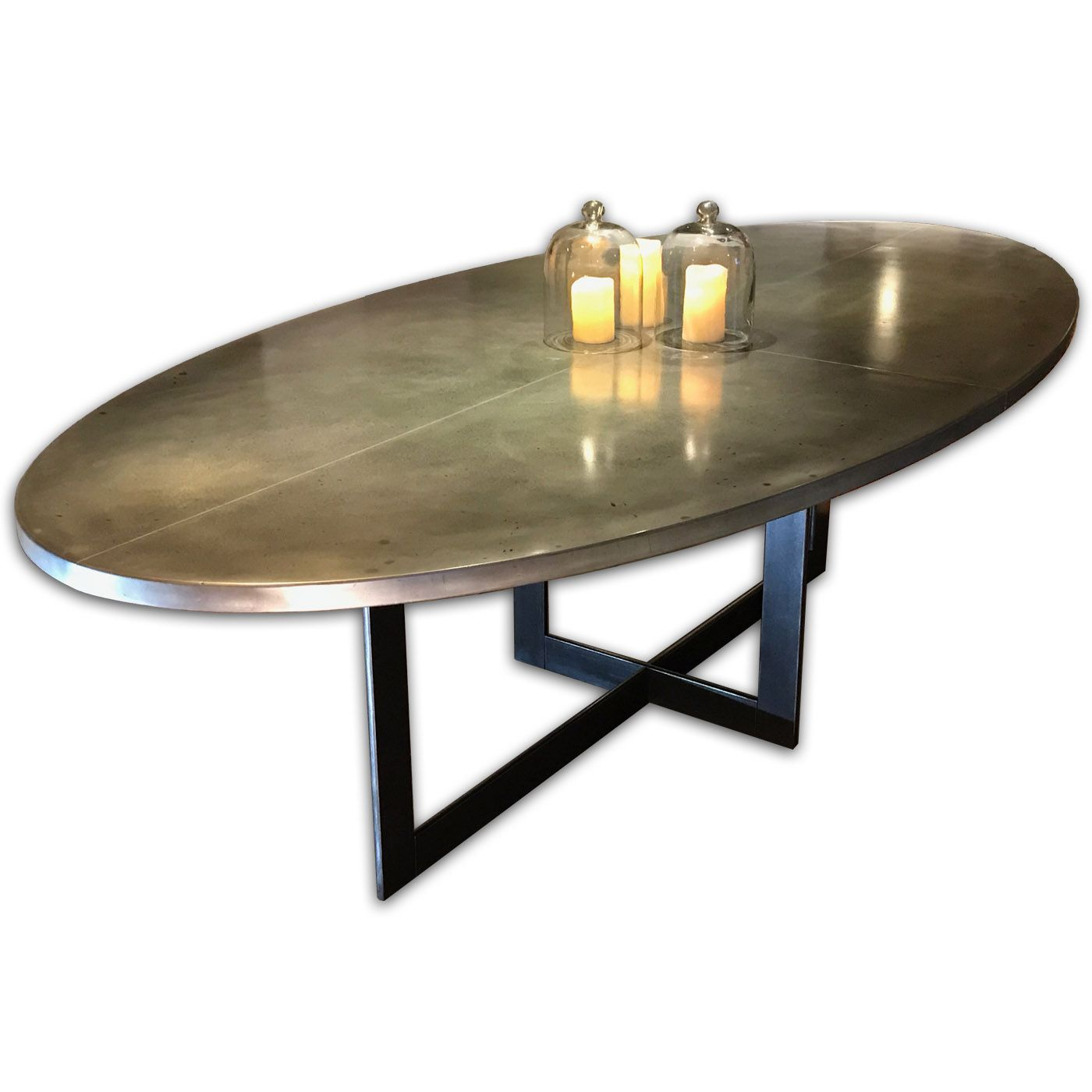 contemporary oval zinc dining table  oval kitchen table