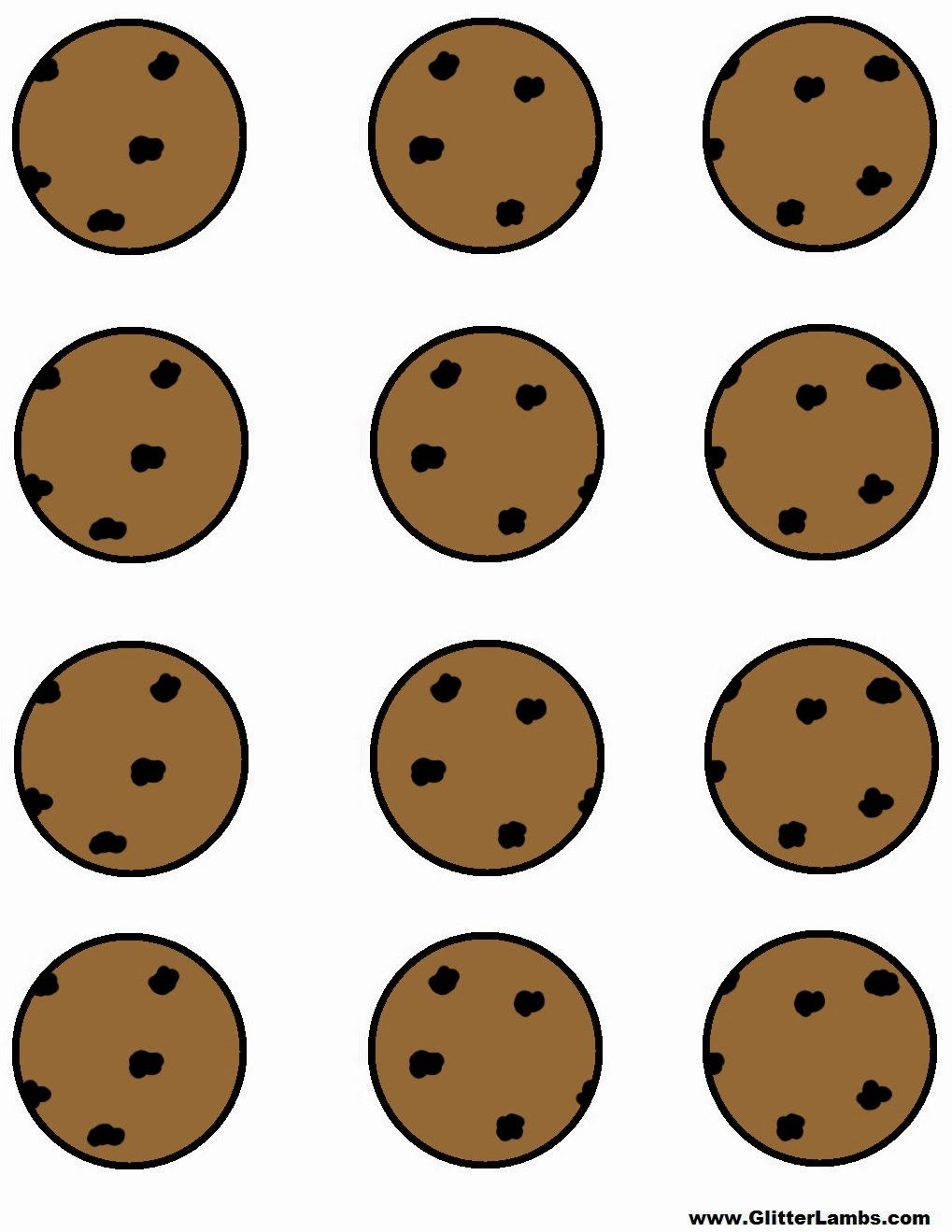 glitter lambs cookie monster food label cards and free printable chocolate chip cookie and milk