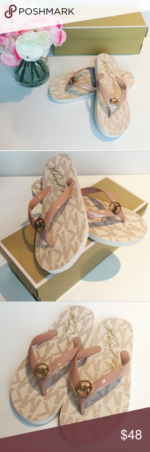 New Michael KORS Jet Set Flip Flops Because nothing puts an extra spring in your step like the right...