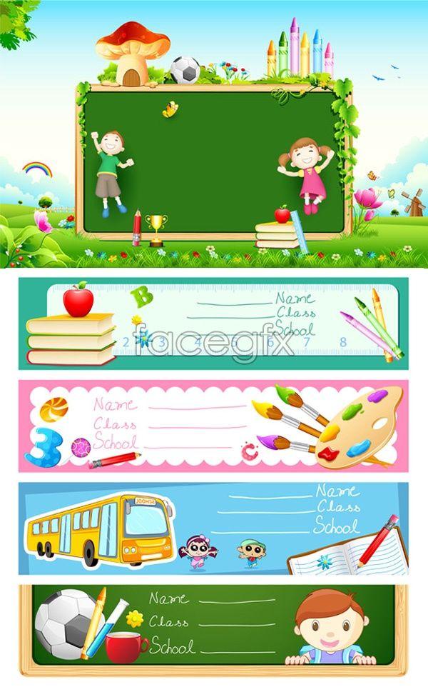 Children\'s drawing banner vector   Bordes   Pinterest   Etiquetas ...