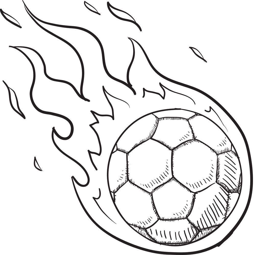 Steps To Draw A Soccer Ball On Fire Soccer Drawing Soccer Ball Art Activities For Kids
