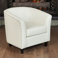 Ordinaire Quilted Ivory White Leather Tub Barrel Design Club Chair W/ Nailhead  Accents Ebay $189 Chair 20