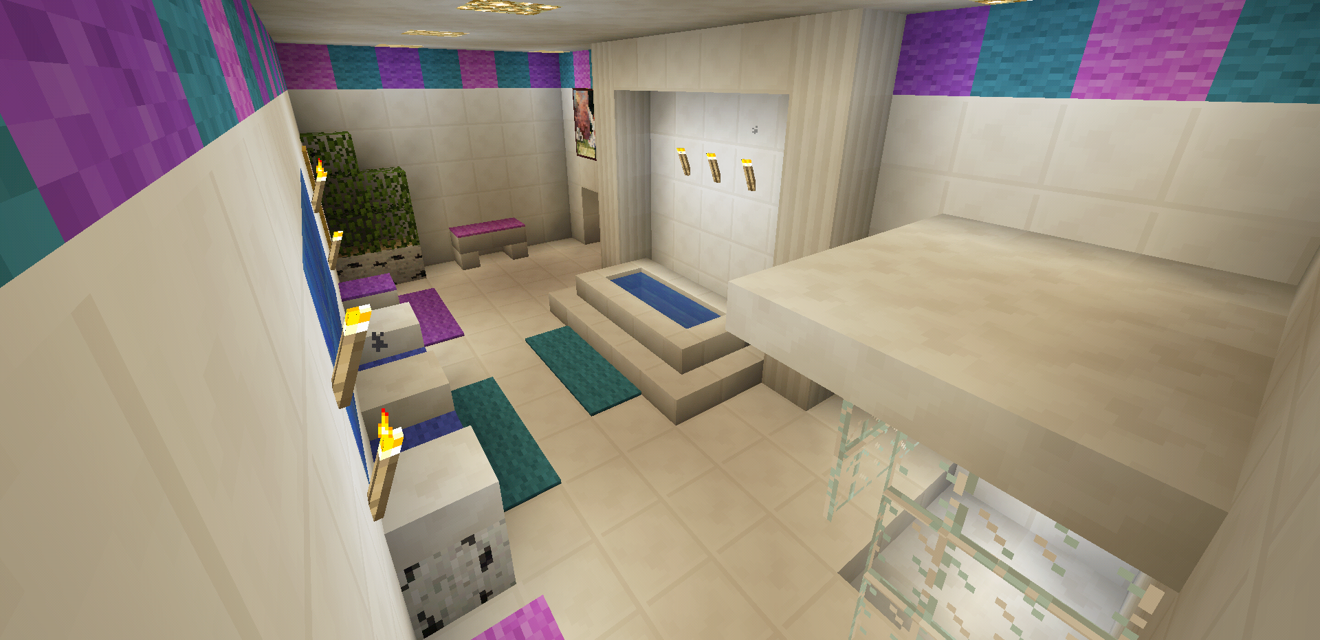 Minecraft bathroom pink girl wallpaper wall design shower for Bathroom designs minecraft