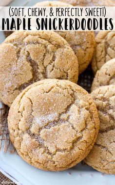 These soft and chewy maple snickerdoodles are so easy to make! The pure maple syrup flavor adds a sweet twist on the classic snickerdoodle recipe! These are our favorite homemade snickerdoodles, because they are nice and soft yet slightly chewy. #fall #cookies #dessert #recipe #snickerdoodle #christmas #maple #sweetrecipes