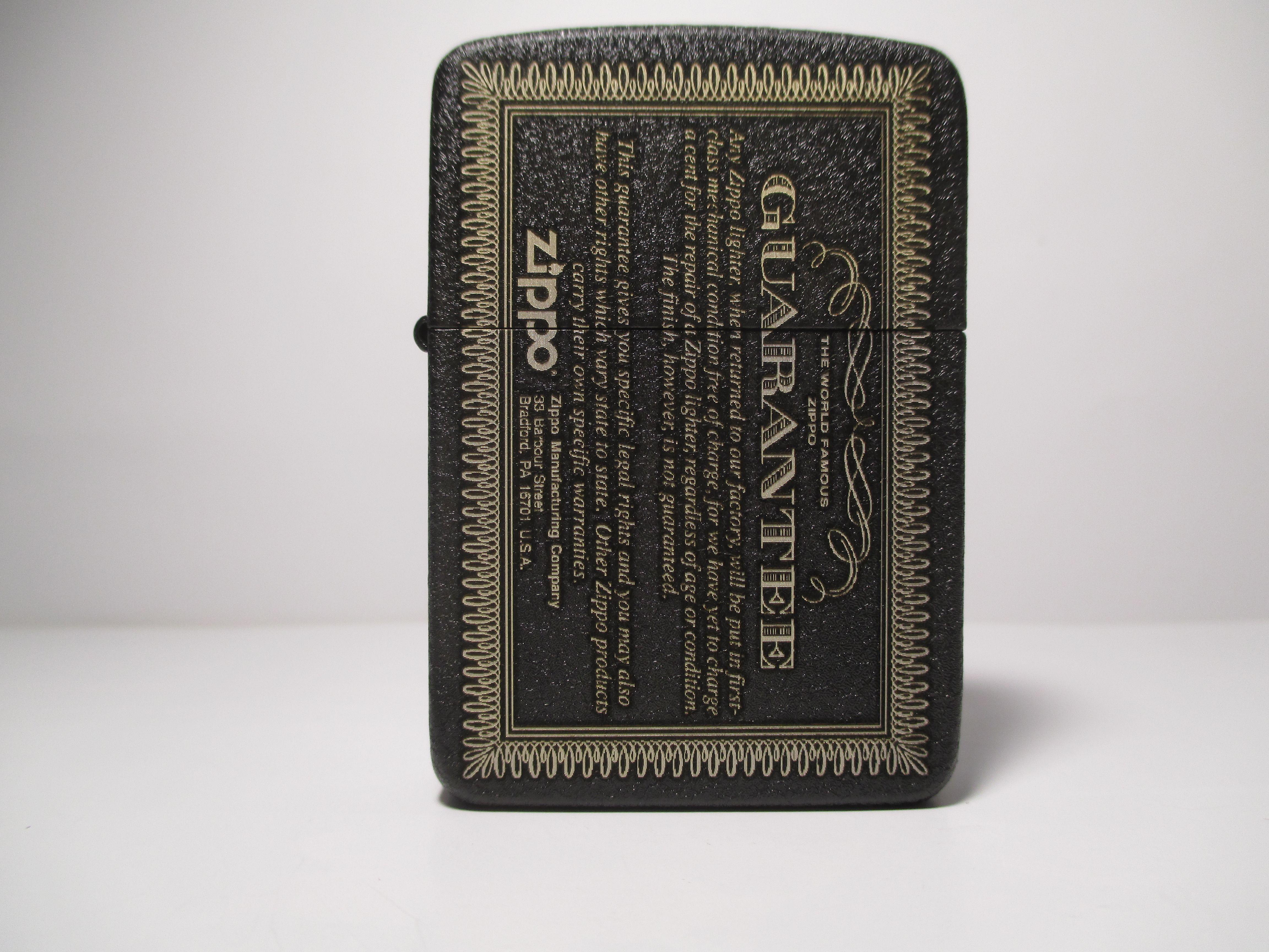 Zippo Guarantee 1941 Replica Black Crackle Custom Deep Laser Engraving Zippo Zippo Limited Edition Zippo Lighter