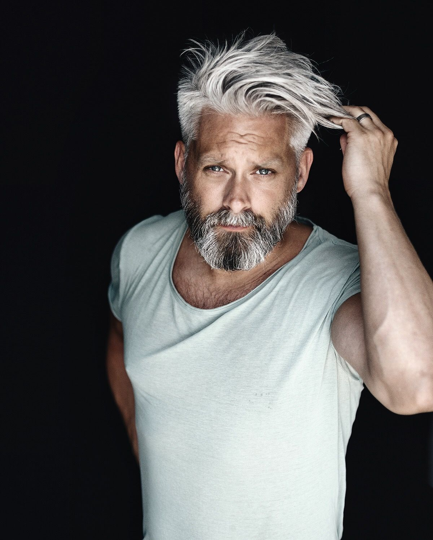 Model swede grey hair 40 beard man male manly