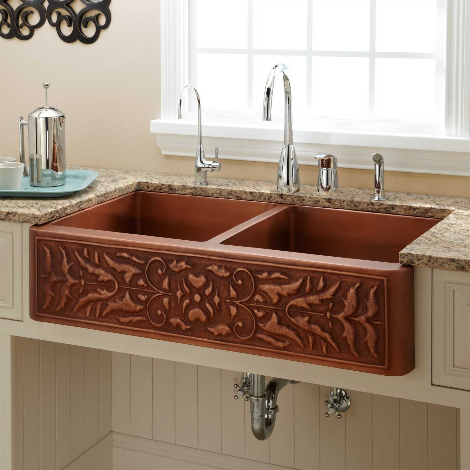 42 Fiona 60 40 Offset Double Bowl Hammered Copper Farmhouse Sink