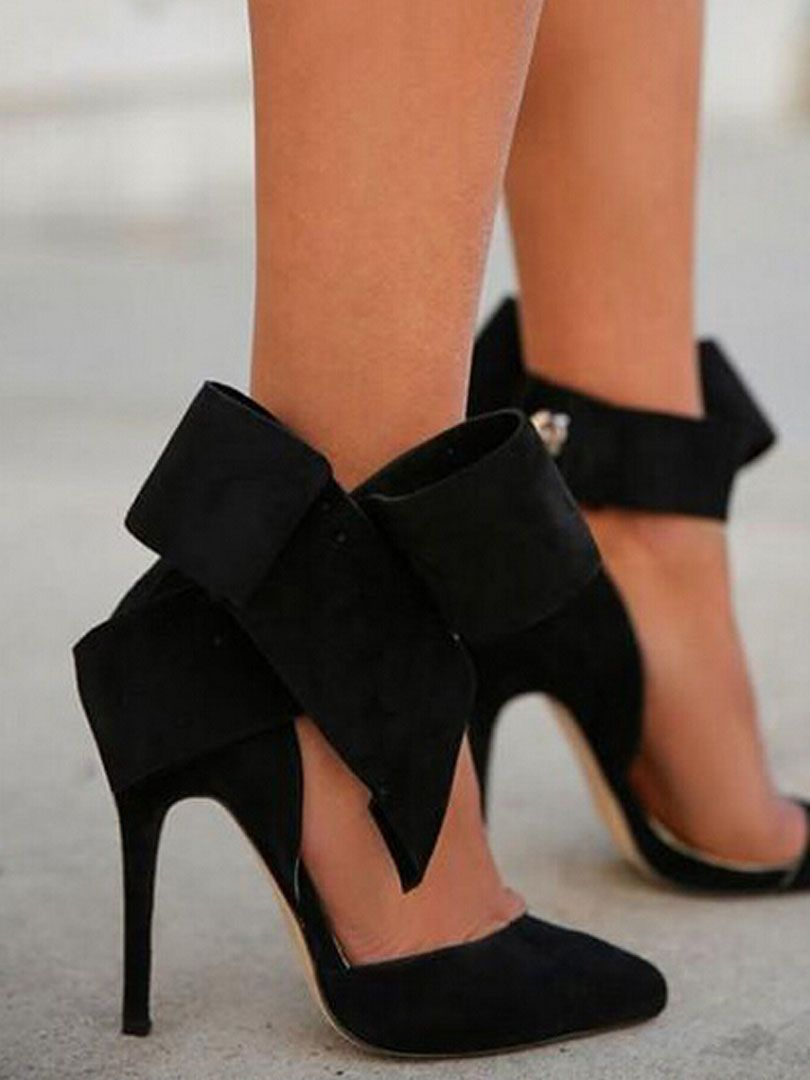 07b5805234d4 Black Detachable Bow High Heeled Pumps