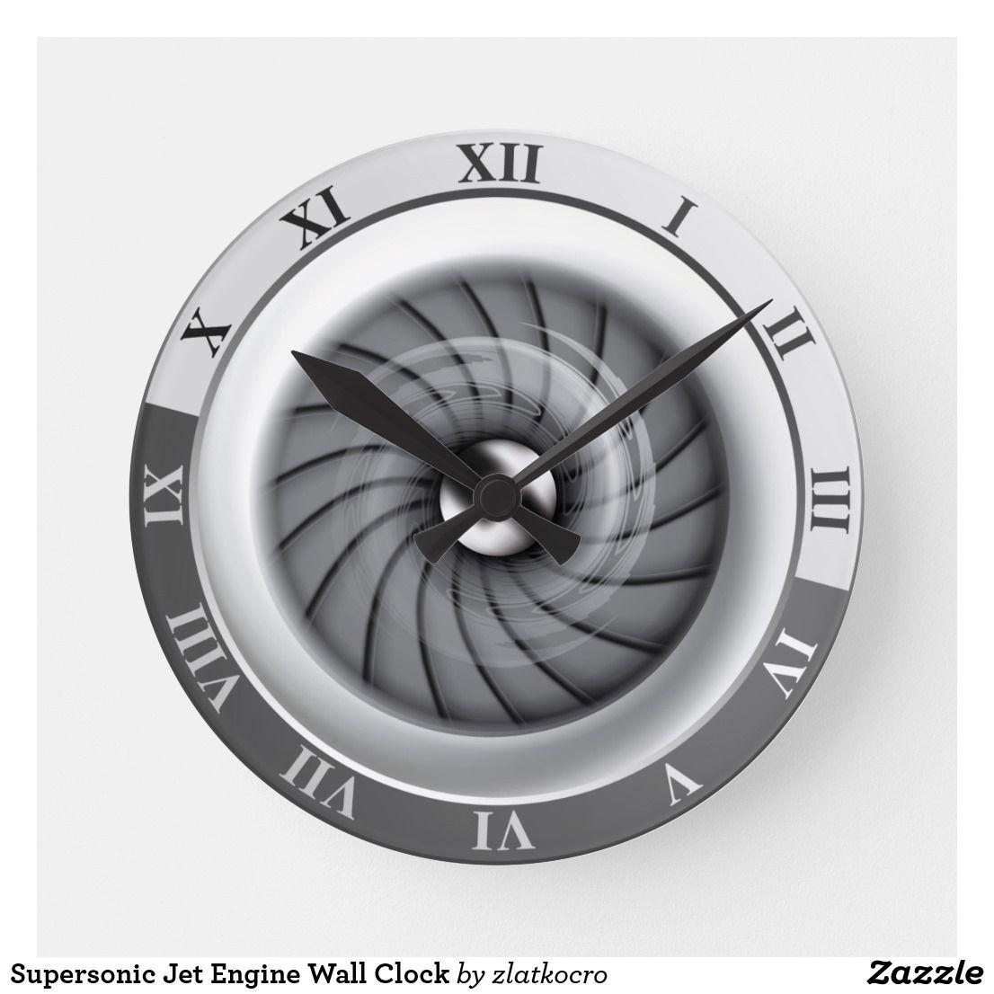 Supersonic Jet Engine Wall Clock Zazzle Com Wall Clock Clock Jet Engine