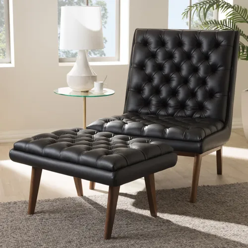 Quirine Black Faux Leather Chair Ottoman Set In 2020 Chair And Ottoman Set Ottoman Set Faux Leather Chair