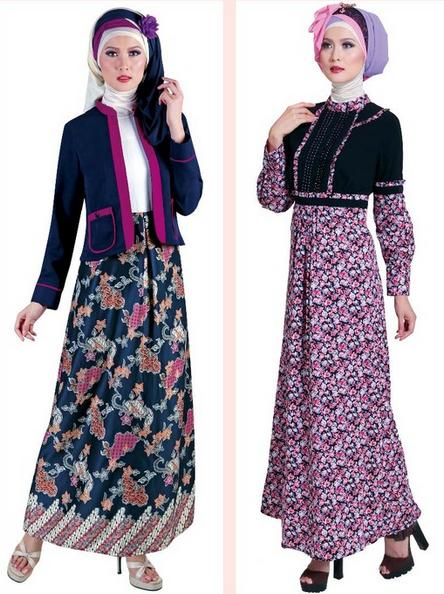 50 Gambar Model Baju Batik Gamis Kombinasi Terbaru  5873db2839