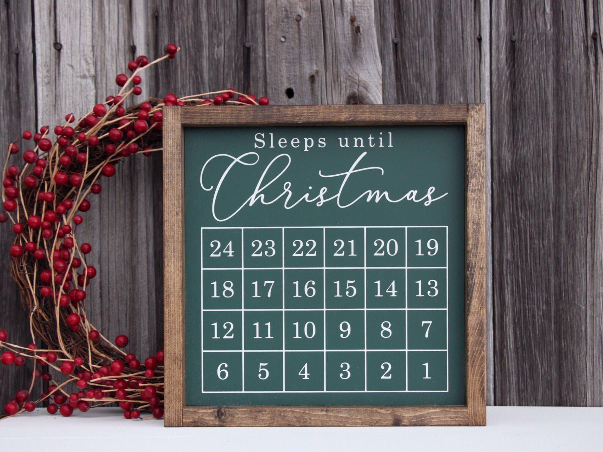 Sleeps Until Christmas Blackboard Sign Countdown Advent Wooden Decoration