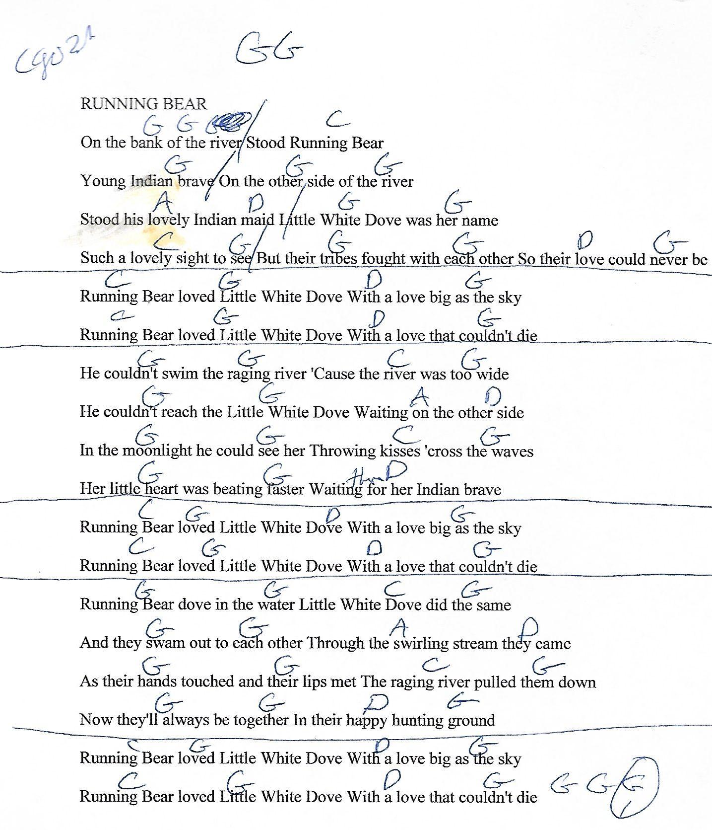 Running bear johnny preston capo 3rd guitar chord chart with running bear johnny preston capo 3rd guitar chord chart with lyrics http hexwebz Gallery
