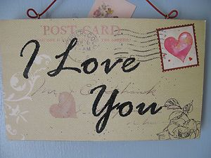 I Love You postcard effect sign/decoration Christmas Valentines Birthday gift | eBay
