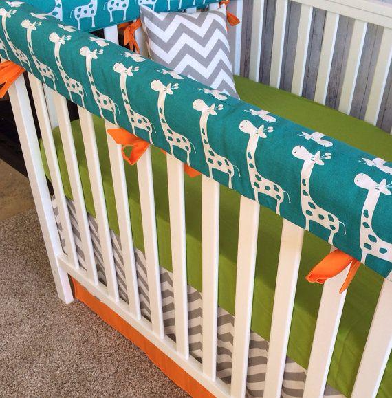 Crib Set Mini Crib Set Nursery Bedding Crib Bedding Set Bumper Sheet Skirt Turquoise Giraffe Gray Chevron Li