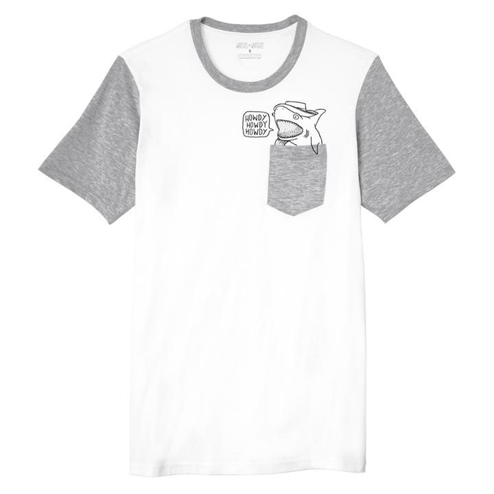 b77d636245 white grey unisex pocket tee with howdy shark inspired by toy story ...