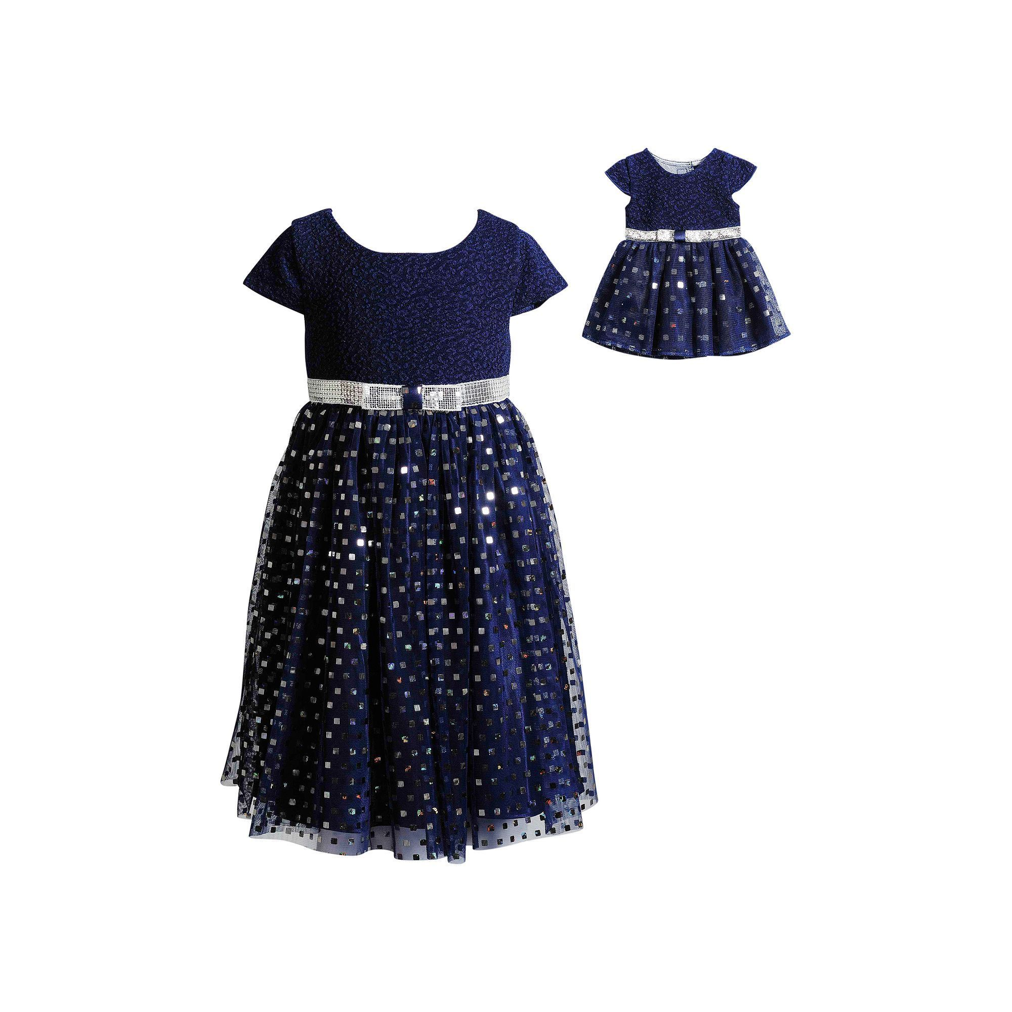 3fd0d4384be89 Girls 4-14 Dollie & Me Sequined Mesh Dress, Size: 4, Blue (Navy ...