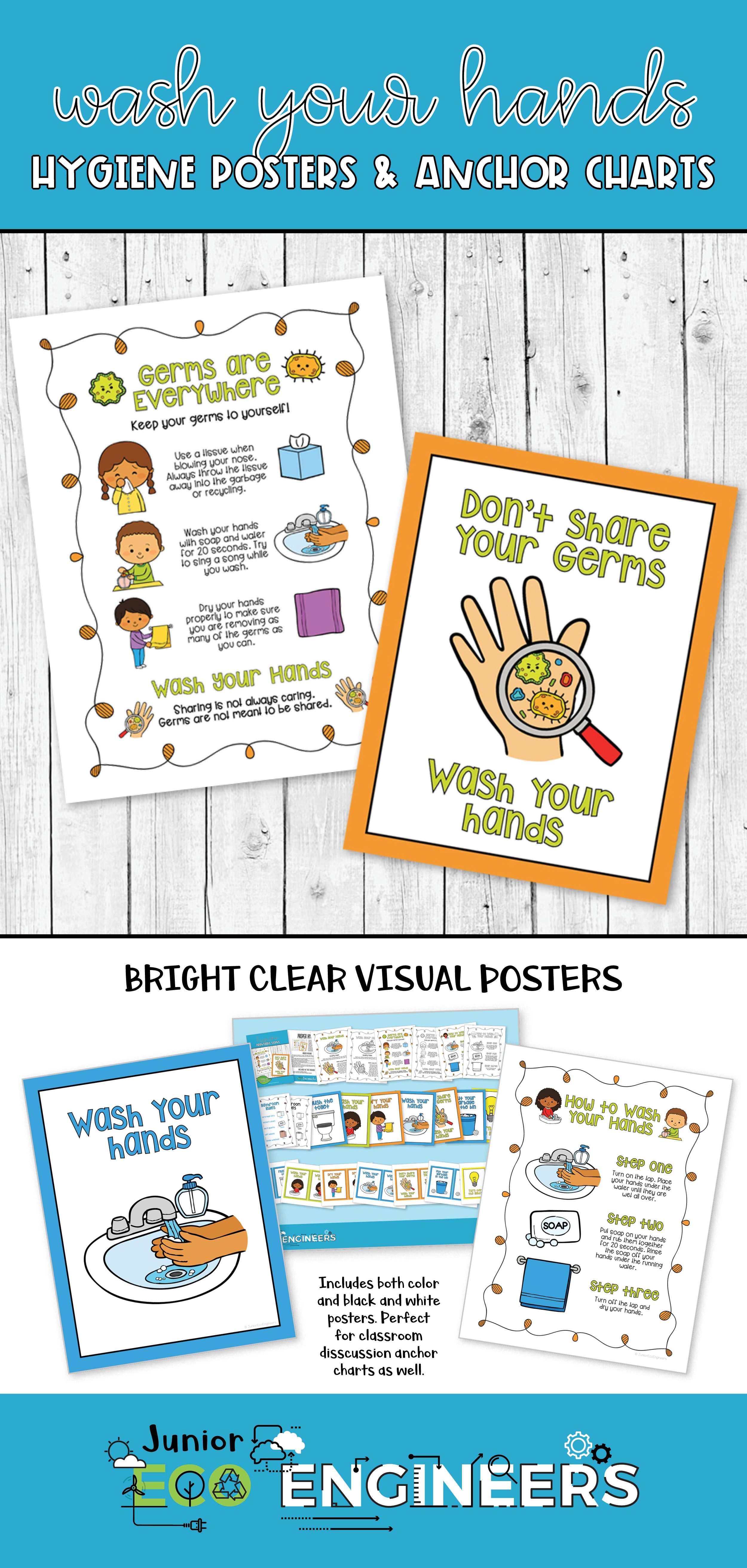Wash Your Hands Hygiene Posters And Anchor Charts For Schools Anchor Charts Creative Lessons Elementary School Lessons [ 5250 x 2500 Pixel ]