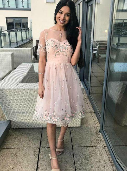 171fd2127de line pink tulle appliques short sleeve homecoming dress also clothes rh  pinterest