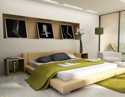 Modern Japanese Bedroom Decorating Design Ideas With Abstract