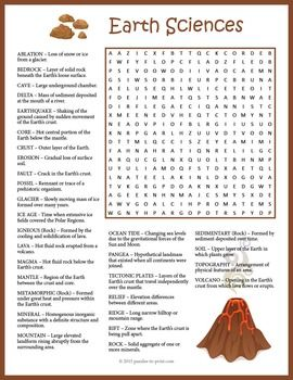 earth science word search word search puzzles science word search science words science. Black Bedroom Furniture Sets. Home Design Ideas