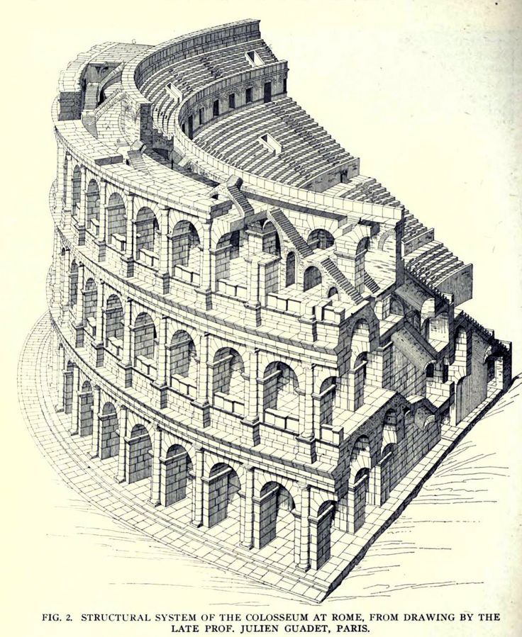 Drawing Of The Structural System Of The Colosseum Rome Rome Architecture Architecture Drawing Roman Architecture