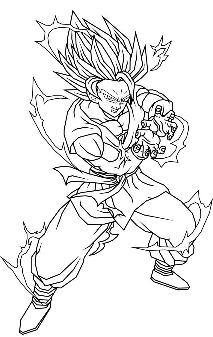 Dragon Ball Z Son Goku Kamehameha Prepared To Spend Coloring Pages For Kids Printable