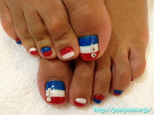 Red White And Blue Beauty Nails Toe Nail Designs 4th Of
