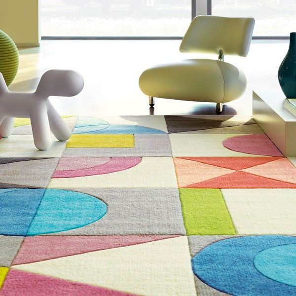 Tapis design multicolore g om trique flamingo road par - Tapis florence bourel ...