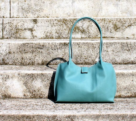 Turquoise leather tote bag leather shopping bag leather by BogaBag, $95.00