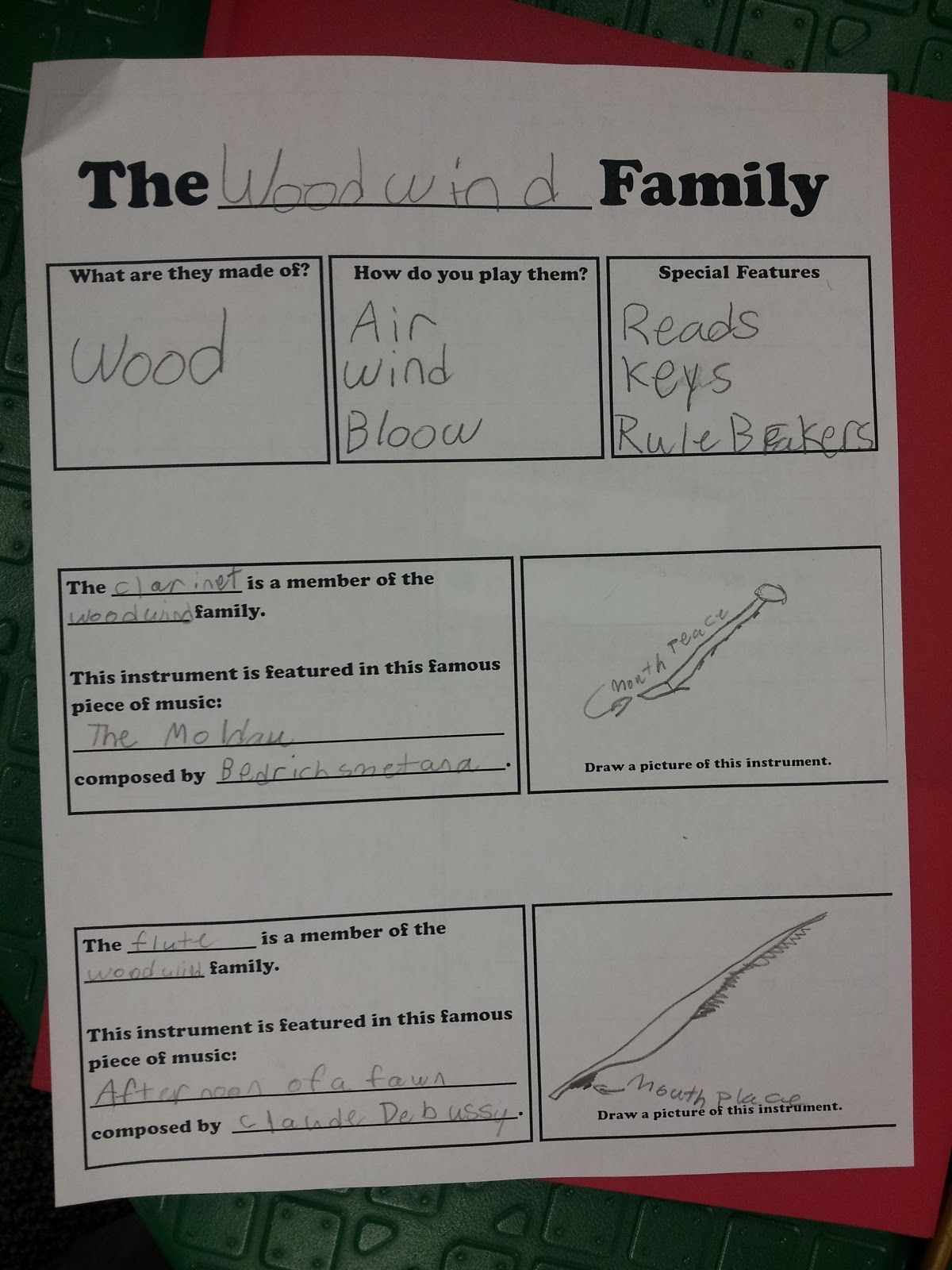 Musical Monday Instrument Family Worksheet