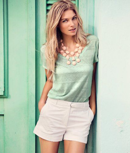 Women's Mint Crew-neck T-shirt, White Shorts, Pink Necklace | Pink ...