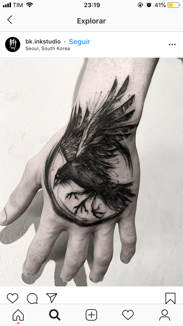 Pin By Waffle Syrup On Tattoo Animal Hand Tattoos For Guys Bird Tattoo Men Crow Tattoo