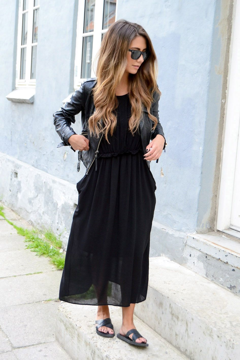 Black leather jacket maxi transparent dress sandals. Street spring clothing women style @roressclothes closet ideas apparel fashion ladies outfit