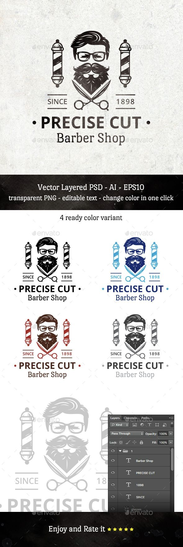 Precise Cut Barber Shop | Friseur, Grafik design und Grafiken