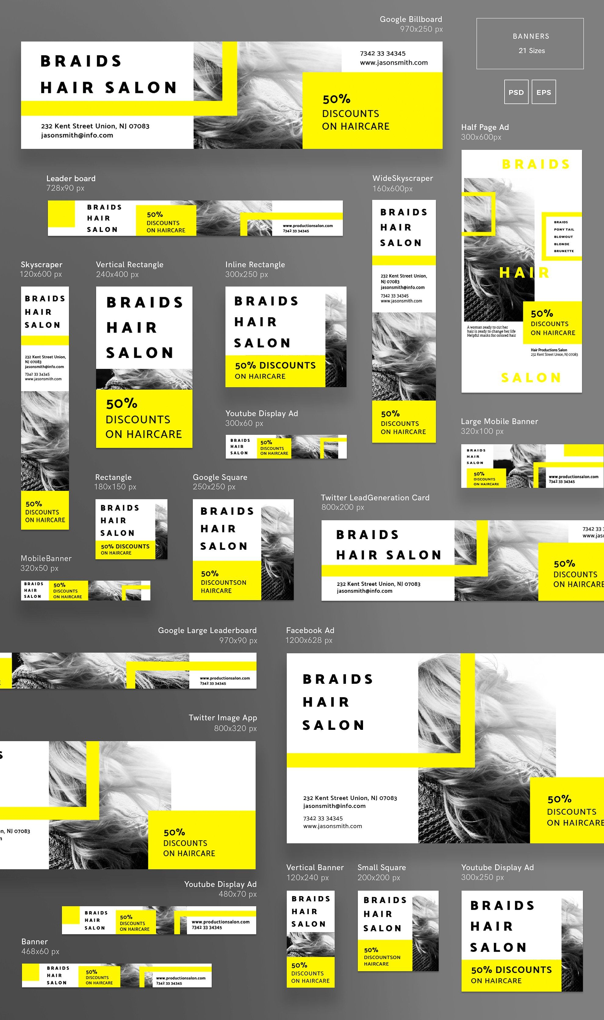 Banners Pack Braids Hair Salon Banner Design Inspiration Banner Ads Design Web Banner Design