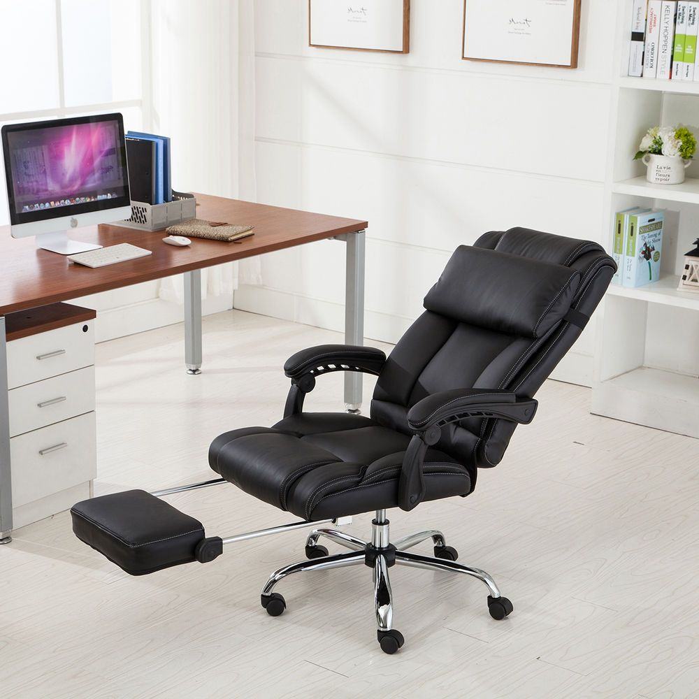 High Back Executive Office Chair Black Padded PU Leather ...