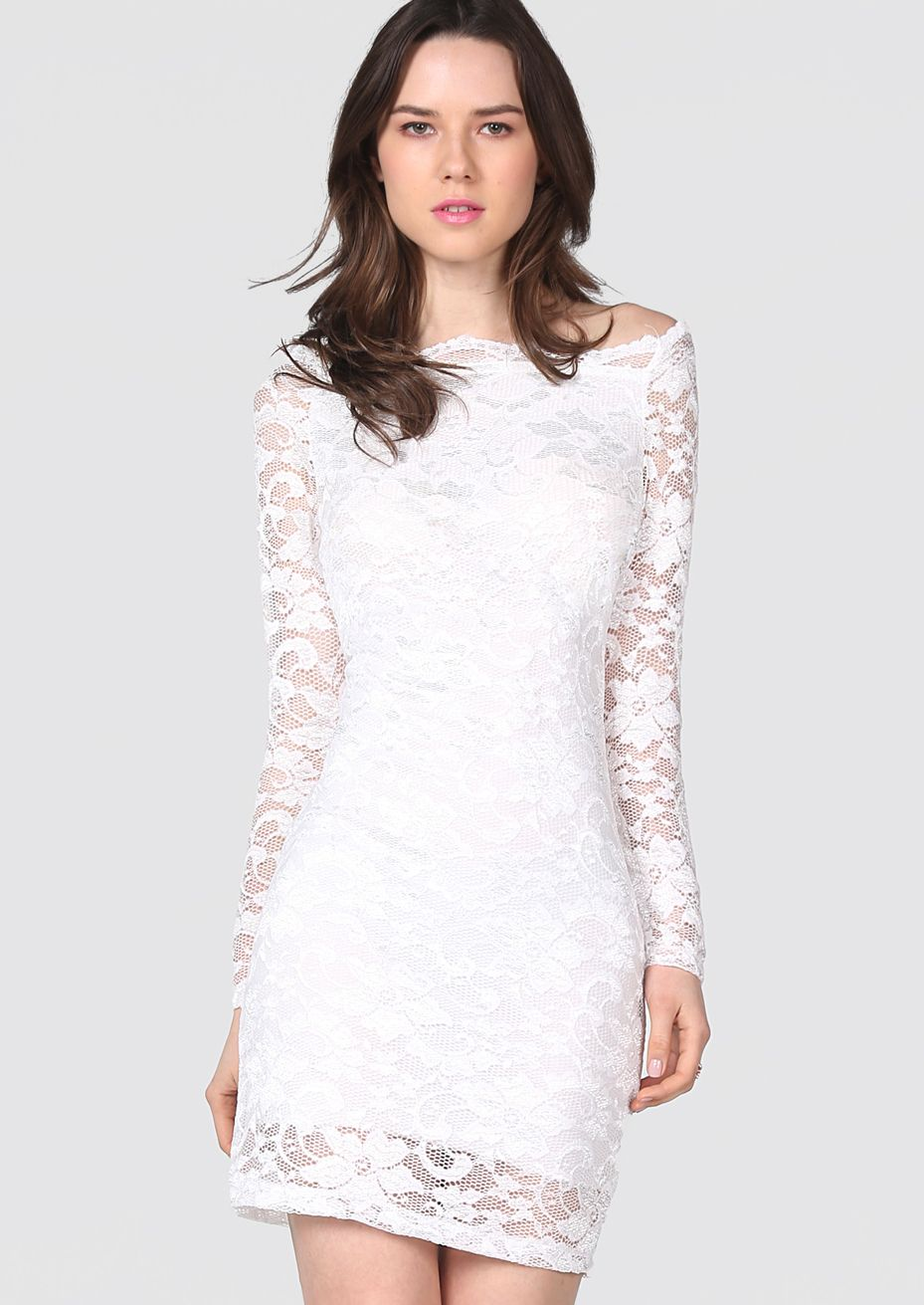 26 white boat neck long sleeve embroidery lace dress us